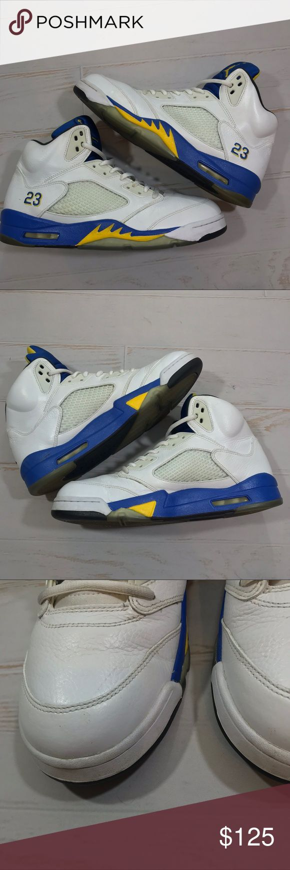 Nike Air Jordan Retro 5 V Laney 2013  Sneaker Nike Air Jordan Retro 5 V Laney Blue Yellow 2013 Basketball Sneaker  Size 12  Worn less then 10 times good condition just has creasing and a few minor scuffs through out all shown in pics! No box or lace locks! If you have any questions please message me thanks! Check out my other listings! Air Jordan Shoes Sneakers