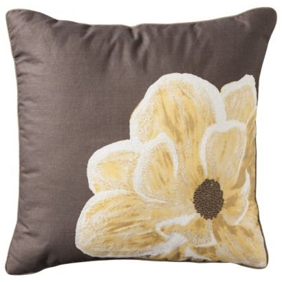 Threshold™ Floral Toss Pillow - Yellow/Gray (18