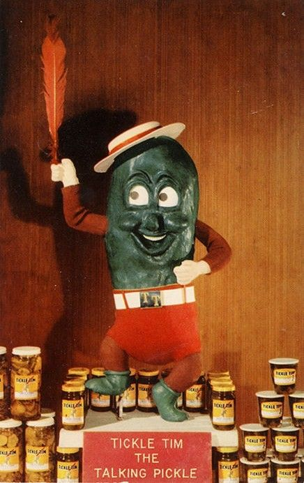 Tickle Tim the Talking Pickle? This sounds like the early Sixties movie shown during health class. I wonder if his counterpart was Jazzy Jane the Jar. All the other ingredients are already there.