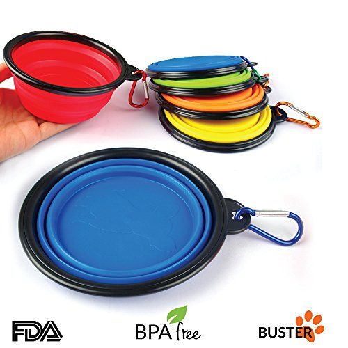 Travel Collapsible Dog Bowl With Matching Carabiner | SET OF 3 in Fun Colors | Perfect Travel Dog Bowls, Dog Food Bowl or Dog Water Bowl | Dishwasher Safe BPA-free Lead-free 100% Food Grade Silicone Buster Pets http://www.amazon.com/dp/B012VYRL04/ref=cm_sw_r_pi_dp_xi8ewb0VBTKWC