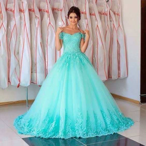 Turquoise Quinceanera Dresses,Ball Gowns Prom Dresses,Lace Prom Dresses,Elegant