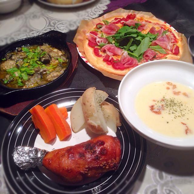 鶏のもも焼き☆ 牡蠣のアヒージョ☆ 生ハムとルッコラのピッツア☆ コーンクリームスープ - 31件のもぐもぐ - 鶏もも焼きの献立 by RIESMO