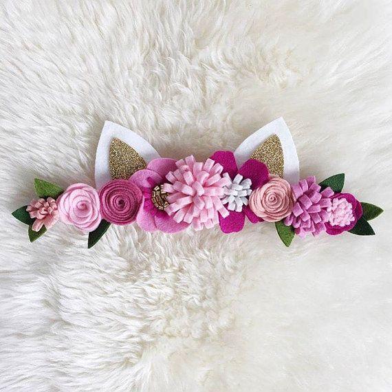Corona de flor de fieltro / / diadema de orejas de gato de