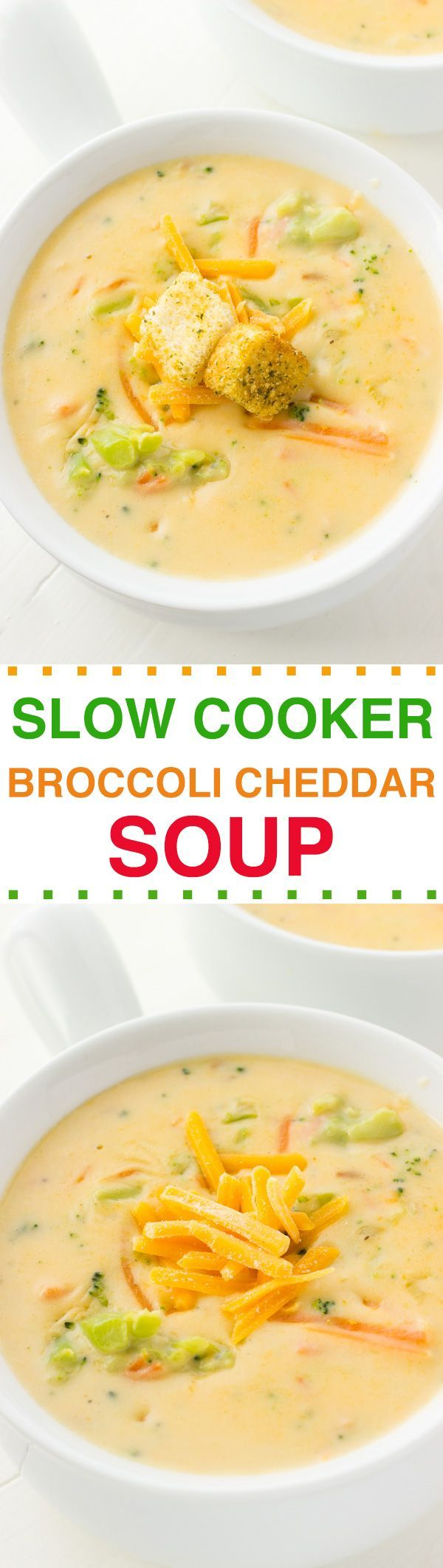 Slow Cooker Broccoli Cheddar Soup--easy soup recipe...even better then panera bread. #crockpotrecipes #slowcooker  #soup #broccoli #dinnertime #lunch #recipes #cheese