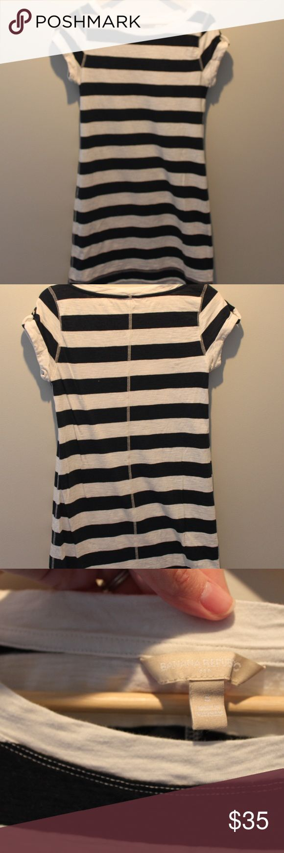 Banana Republic striped t-shirt dress - Size Small Banana Republic - Small - Navy & White Striped tshirt dress.  Roll up tabs with gold button on the sleeve (ornamental, no real purpose/function).  In great condition!  Some light fading from wash/wear, but otherwise a very comfortable dress!  Easy to dress up or down.  Hits midthigh. Banana Republic Dresses Midi