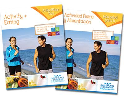 Activity & Eating: Small Steps to a Healthier You. An 8-page booklet to learn how to balance food choices and include physical activtiy. Available in English and Spanish. Free to California health and wellness professionals and a nominal fee elsewhere.