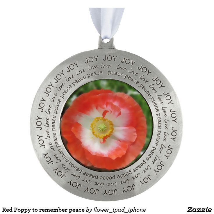 Red Poppy to remember peace Round Pewter Christmas Ornament