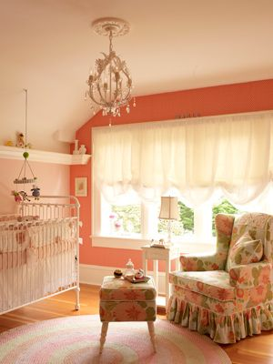 Baby Girl Nurseries...dark pink accent wall: Wall Color, Coral Wall, Baby Girls, Baby Rooms, Vintage Cribs, Girls Nurseries, Girls Rooms, Baby Nurseries, Accent Wall