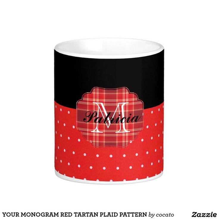 YOUR MONOGRAM RED TARTAN PLAID PATTERN ベーシックホワイトマグカップ