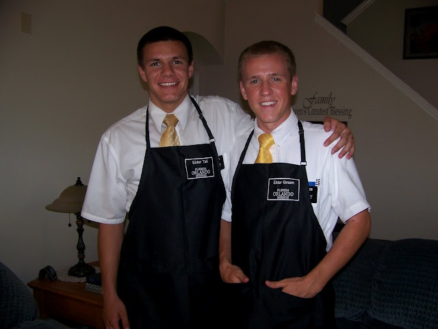 Missionary aprons, My sons love theirs and use them all the time. I had her make me one with their names and missions on them, they are great!