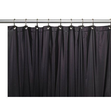 Black 3 Gauge Vinyl Shower Curtain Liner with Weighted Magnets and Metal Grommets - Walmart.com