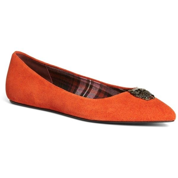 Brooks Brothers Suede Ballet Flats (93 AUD) ❤ liked on Polyvore featuring shoes, flats, orange, ballerina pumps, ballerina shoes, ballet flat shoes, orange flats and skimmer flats