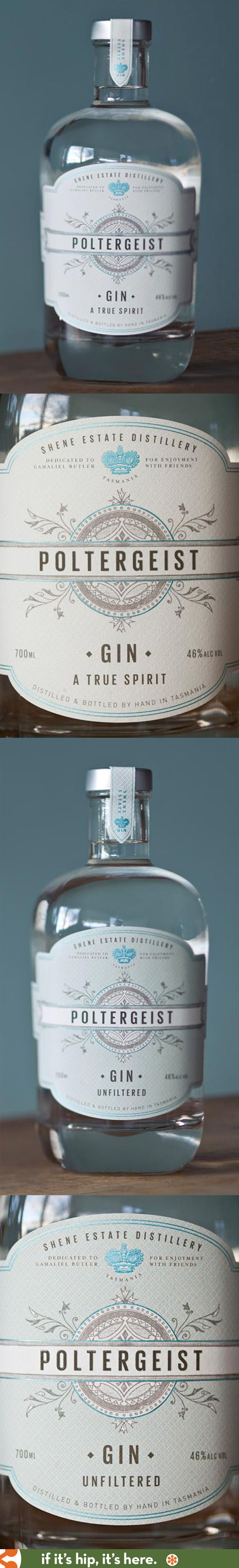 Tasmania's Poltergeist Gins in regular and unfiltered with lovely label designs. Shene Estate Distilling.