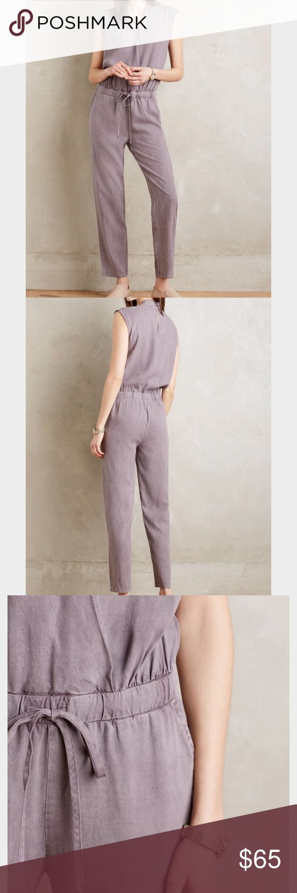 """Cloth and Stone Mignon Crossfront Jumpsuit Size Medium. Literally worn once... too big for me (I'm 5'6"""", 135 lbs). It is the same color as pictured, in perfect condition w/out tags. Would work better on someone taller. Made of buttery-soft Lyocell. Would love this piece in my correct size, it's so cute! Last picture shows me wearing it with a gray t shirt underneath (for work). That was the one time I wore it and I received countless compliments. 😄 Anthropologie Other"""