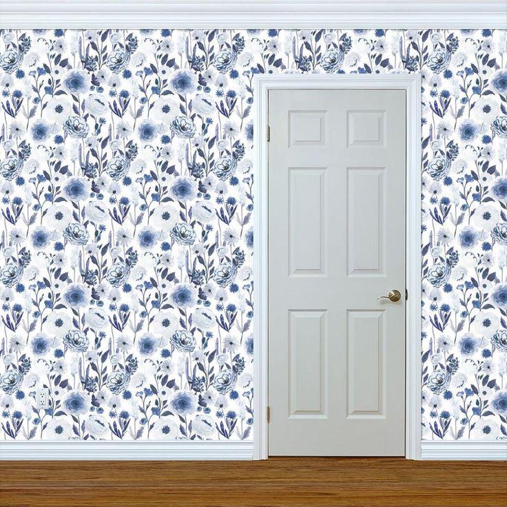 Blue Floral Wallpaper Indigo Garden B By Indybloomdesign