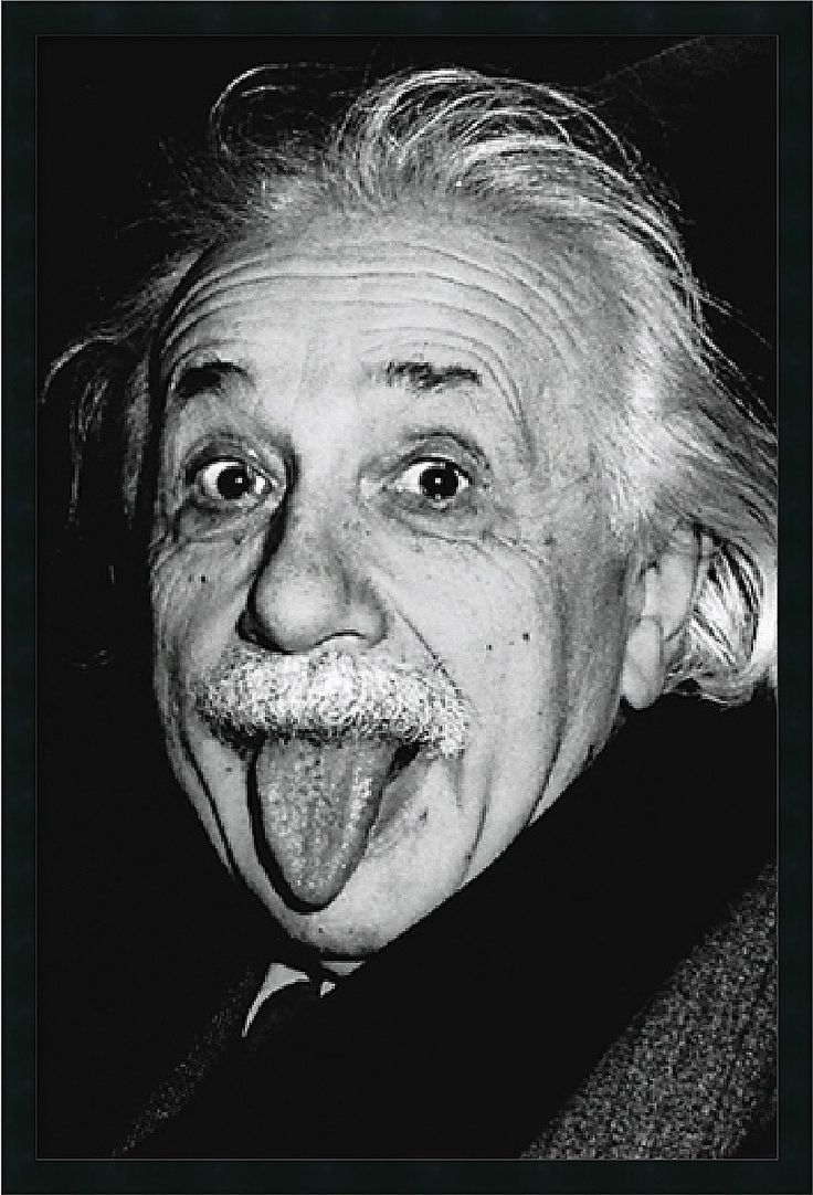 Clown It Up With Einstein, Everybody'S Favorite Nuclear Physicist. This Classic Black & White Photography Poster Highlights The Playful Side Of One Of The 20Th Century'S Greatest Minds. - Artist: Unkn