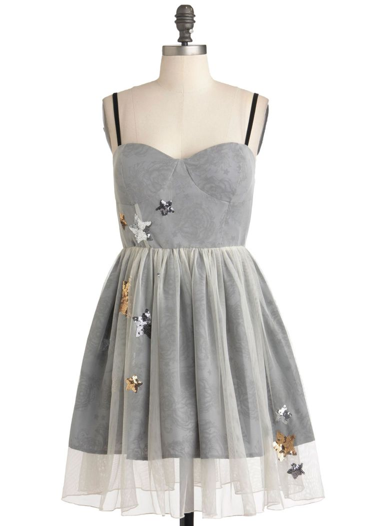 Your Lucky Stars Dress - Short, Grey, Sequins, Prom, Ballerina / Tutu, Spaghetti Straps