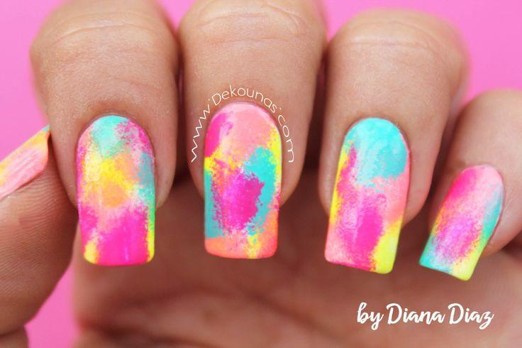 Decoración de uñas fiesta neon 1-2