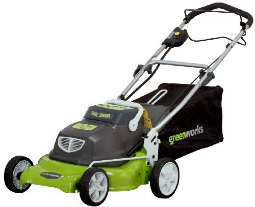 Greenworks 25092 18-Inch 24-Volt Cordless Self Propelled 2-in-1 Lawn Mower. Details at http://youzones.com/greenworks-25092-18-inch-24-volt-cordless-self-propelled-2-in-1-lawn-mower/