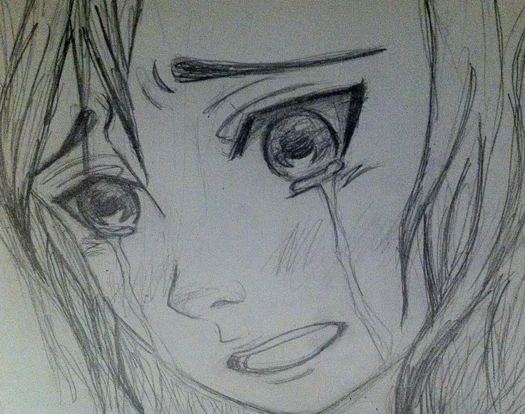 drawing of a anime girl crying face - Google Search