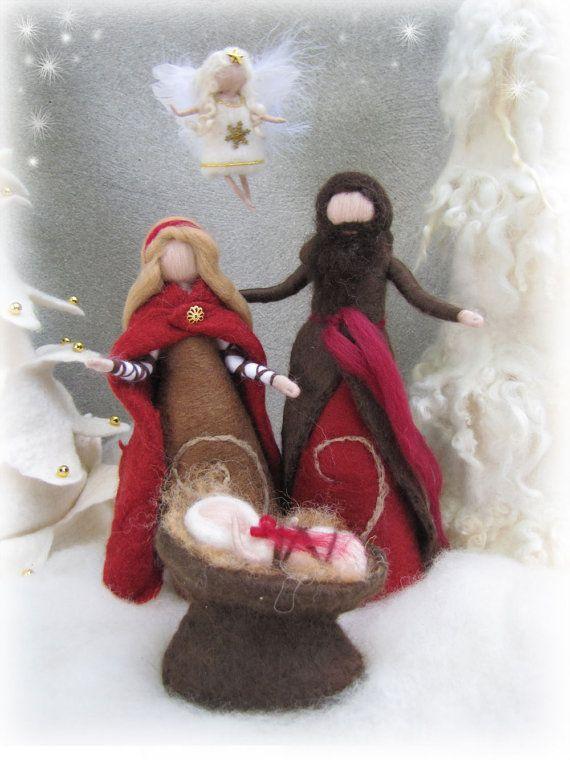 Needle felted and wet felted Nativity Set B felted by LivelySheep, €50.00