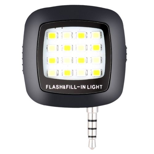 Portable Spotlight Smartphone Phone Selfie Mini 16 LED Camera Flash Fill-in Light for iOS Android iPhone Samsung HTC Smartphones