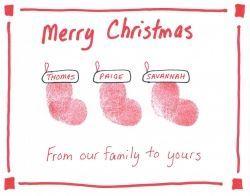 Thumb print Family Christmas Stocking Card