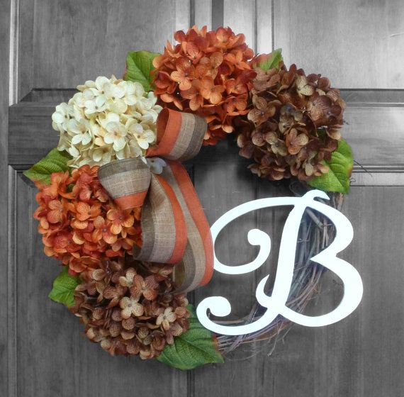 Wreath Fall Hydrangea Wreaths Wreaths Front Door by RefinedWreath