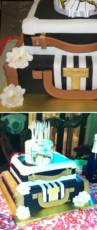 Non poteva mancare una magica torta: formata da due valigie sovrapposte e una decorazione che rappresenta una cartina nautica, è la perfetta conclusione di un party attorno al mondo!