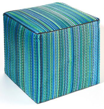 Cancun Pouf, Turquoise & Moss Green tropical ottomans and cubes