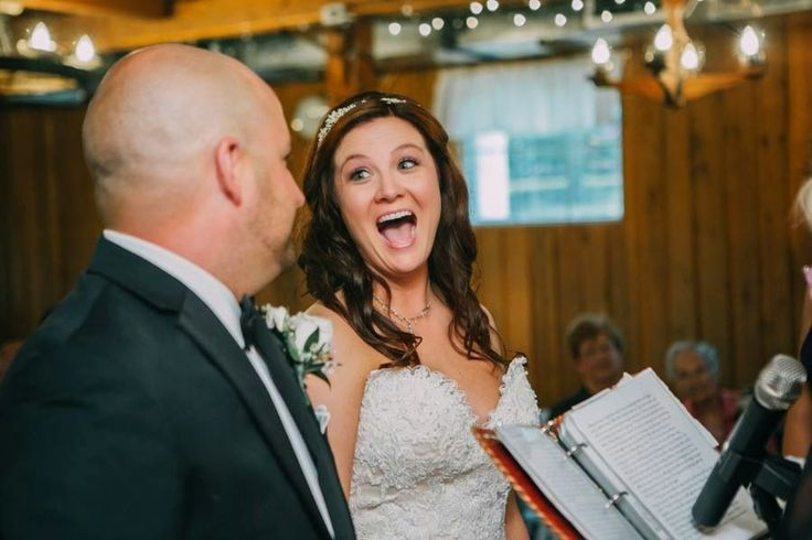 Cheerful I do's at this Shawnessy Barn wedding ceremony!