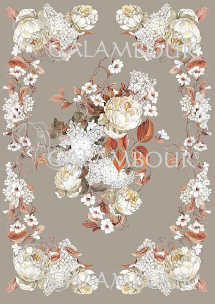 Pattern : white flowers with grey background