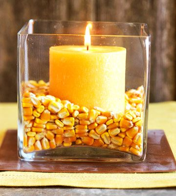 candle display for thanksgiving table? have a few pillar candles in glass containters w/corn or candied corn...?