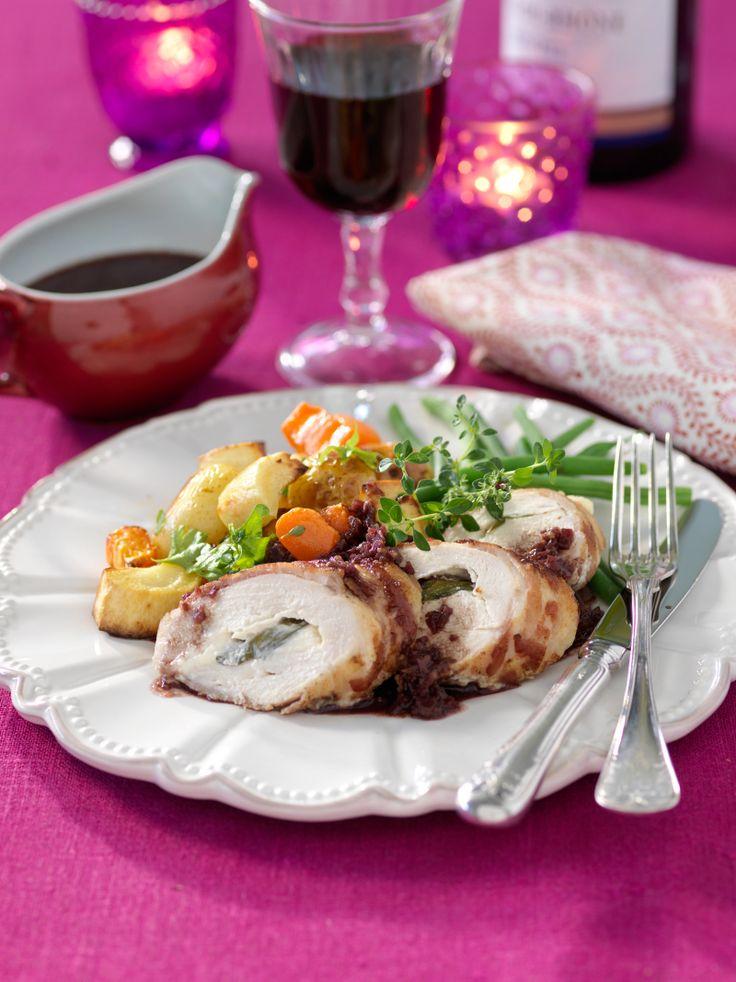 Färskostfylld kycklingfilé med tryffelsås