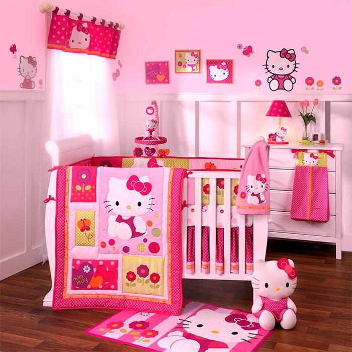 cute hot hello-kitty pink bedroom design for your new born baby