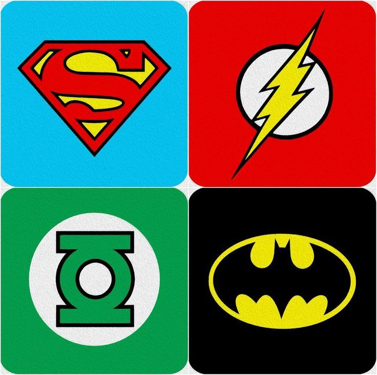 Dc Comics Super Hero Logo Coasters Batman The Flash Superman Green