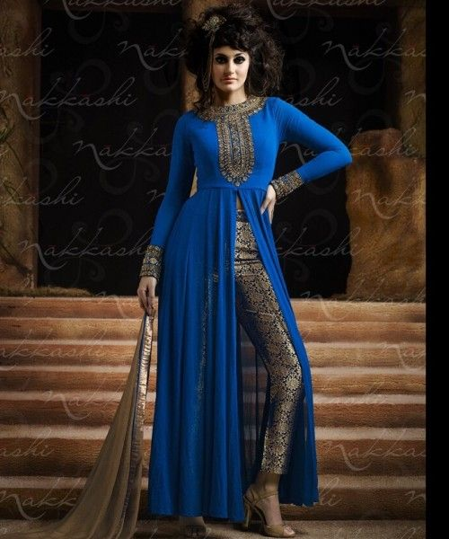 Front Open Slit Embroidered Salwar Suit By Nakkashi @ Looksgud.in #Ethnic #FestiveWear #SalwarSuit #Designer