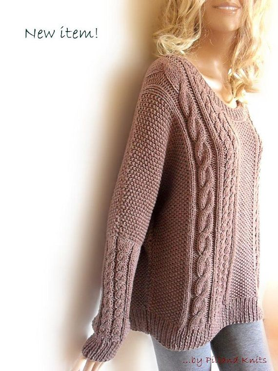 Hand Knit Sweater Bat sleeves Open neckline tunic sweater Loose fit cable knit pullover
