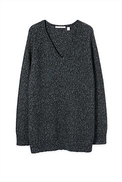 V-Neck Speckled Knit - From Trenery