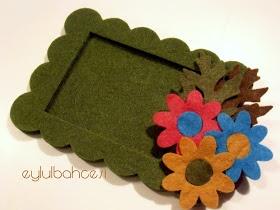 Ƹ̵̡Ӝ̵̨̄Ʒ eylulbahcesi hand craft Ƹ̵̡Ӝ̵̨̄Ʒ: Keçe Çiçekli Çerçeve Magnet