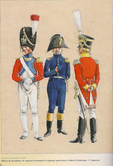 Swiss; 4th Infantry Regt, Grenadier Officer, 3rd Infantry Regt. Officer, Petite Tenue & 1st Regt Colonel d'etat-major