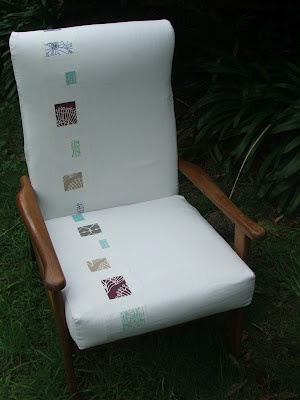 Upholstered chair by Kristy (Handmade Retro) from Umbrella Prints Trimmings.    If you think it should win 'pin' it from the original '2012 Trimmings Competition by Umbrella Prints' board.    http://pinterest.com/umbrellaprints/2012-trimmings-competition-by-umbrella-prints/
