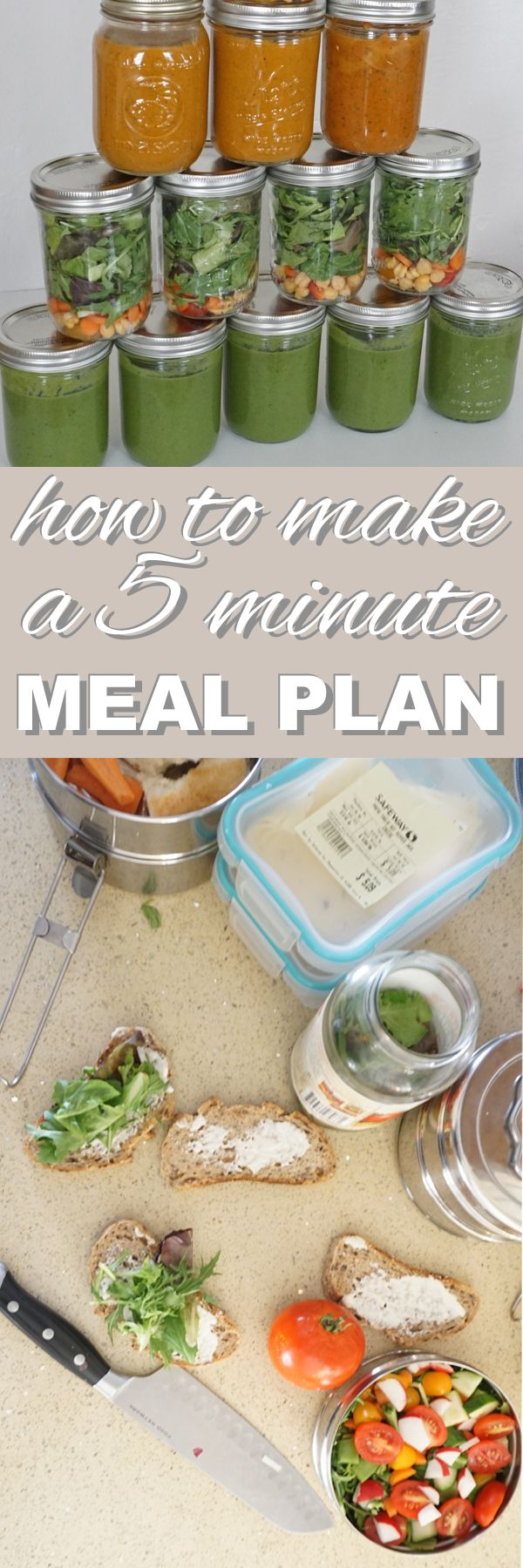 Meal planning is the key to eating healthy and preventing food waste. Find out how to make a 5 minute meal plan. It's quick, easy, and eco-friendly. Find out more on the zero waste blog www.goingzerowaste.com