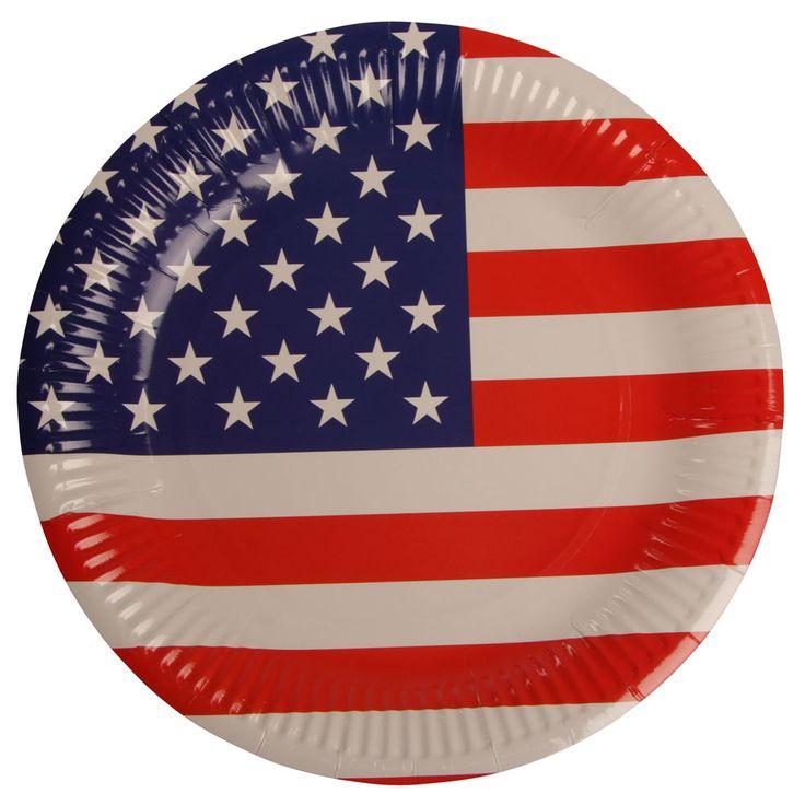 """18.00 DKK. Paptallerkener med USA flag, 6 - pak Festlige tallerkener til Amerikanerfesten. Flotte engangstallerkener med det Amerikanske flag,   Farverne på disse paptallerkener med USA flag er så kraftige at man roligt kan dække op til fest eller camping med helt almindelige """"kedelige"""" hvide plastic gafler, knive og enganskopper, og stadig få et rigtig flot bord.  Paptallerkenerne er 23 cm i diameter.  Pakken indeholder 6 stk. engangstallerkener."""