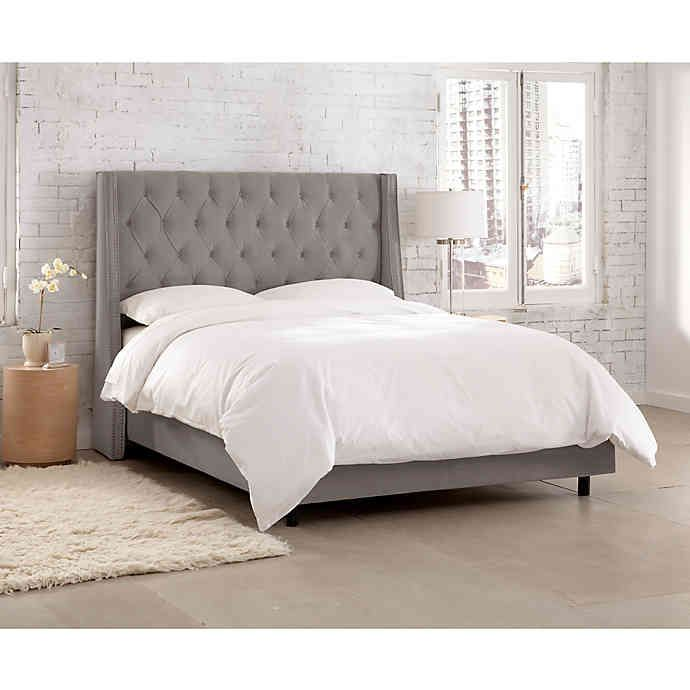 Loa Nail Button Tufted Wingback Velvet Bed Upholstered Beds
