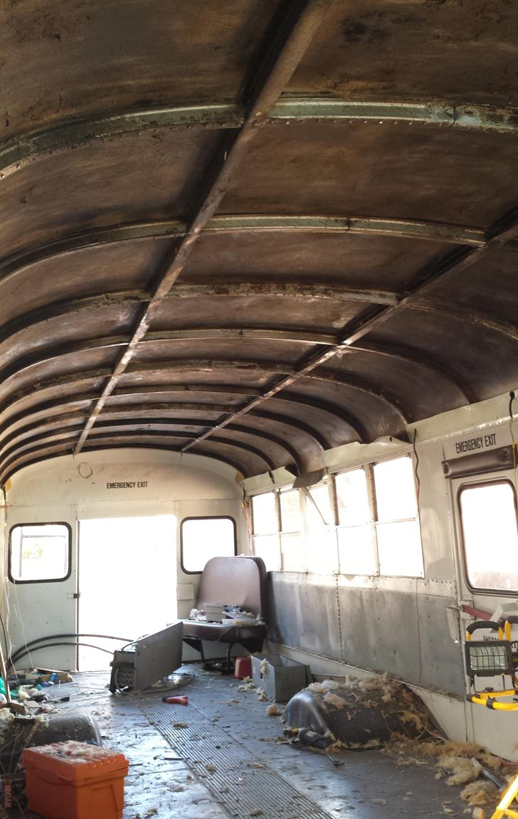inside bus remodeled into RV