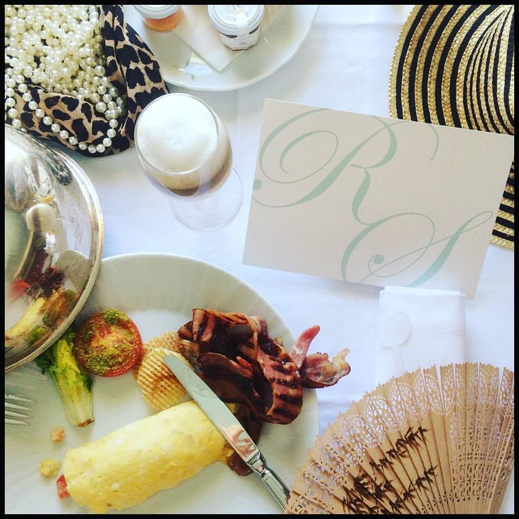 Breakfast and wedding preparation at Le Negresco in Nice with Posted with Loves Classic Wedding Invitation.