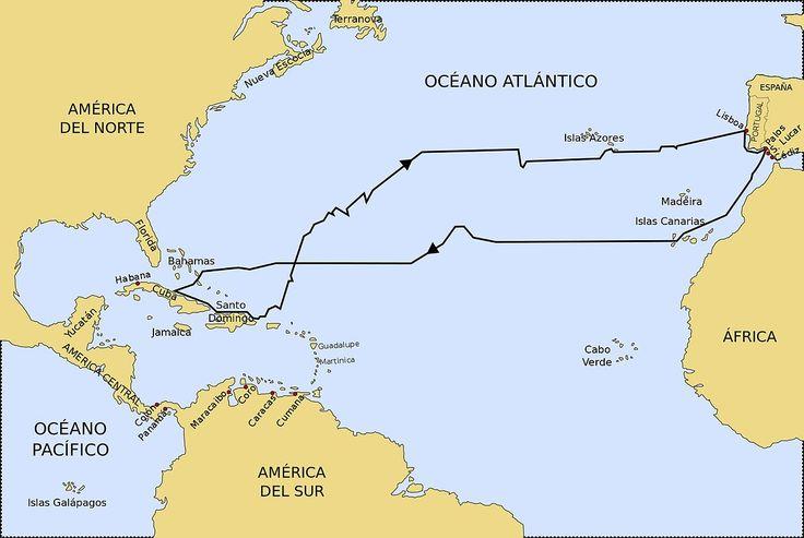 Resultado de imagen para ruta de cristobal colon para llegar a america