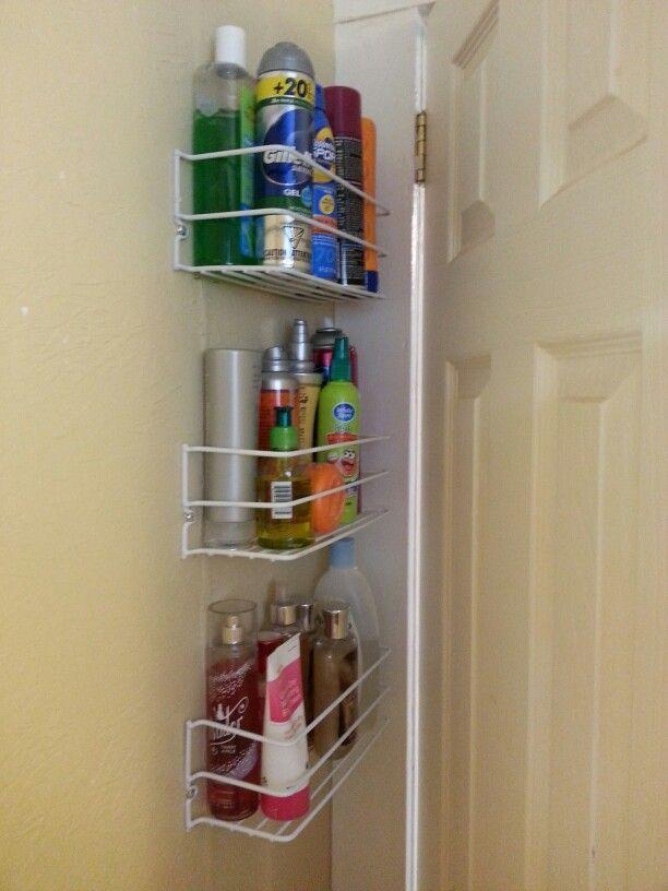 Behind the door storage in my micro sized bathroom