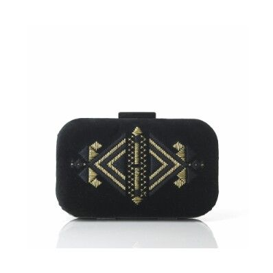 Black Velvet Clutch with Gold Embroidery